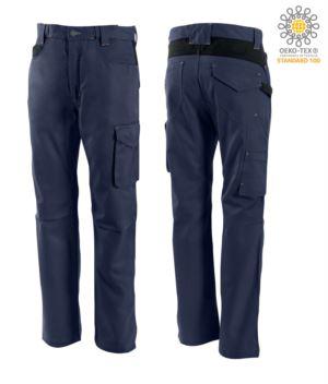 Pantaloni bicolore, multitasche, in cotone, colore blu/nero