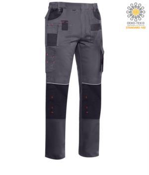 Pantaloni multitasche con dettagli e cuciture in contrasto, elasticizzato, colore grigio scuro