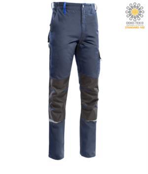 Pantaloni multitasche bicolore, piping rifrangente sotto il ginocchio. Colore Blu/Azzurro Royal
