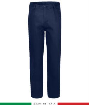 Pantalone ignifugo, antiacido, antistatico, multitasche, Made in Italy, certificato EN 11611, EN 1149-5, EN 13034, CEI EN 61482-1-2:2008, EN 11612:2009, colore blu navy,  pantalone ignifugo, pantalone antistatico, pantalone antiacido, pantalone saldatura