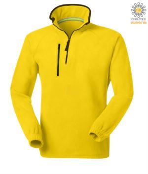 Pile zip corta, due tasche con un taschino chiuso con zip. Colore: giallo