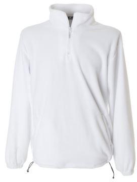 Pile zip corta antipilling, interno collo in contrasto, due tasche coperte con zip, polsini elastici colore bianco