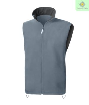 Fleece vest with long zip, two pockets, color grey