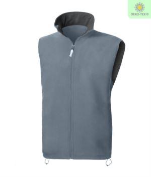 Fleece vest with long zip, two pockets, color grey