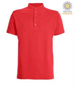 Polo shirt with Korean collar with 5-button closure, red color