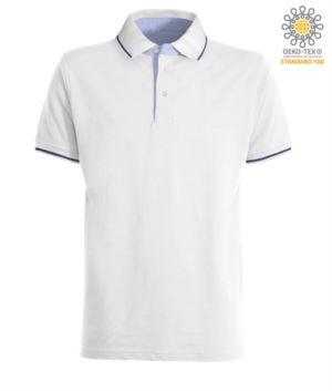 Polo manica corta bicolore, interno collo e fessino in Oxford celeste, colletto e maniche con dettaglio in contrasto. Colore Bianco / Blu Navy