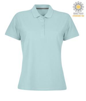 Polo donna a maniche corte chiusura quattro bottoni, 100% Cotone. Colore Aquamarine