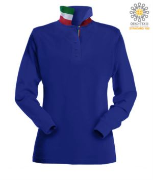 Polo manica lunga donna con elementi tricolore su colletto e fessino. Colore azzurro royal