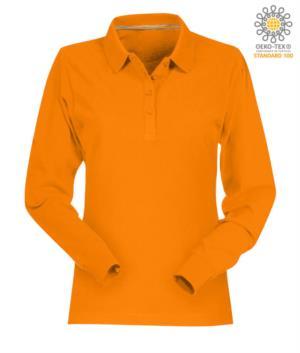 Polo manica lunga donna in cotone piquet colore arancione