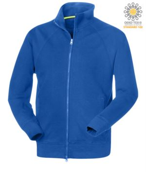 man long sleeved sweatshirt with long zip Royal Blue color