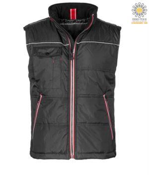 working vest multi-pocket quilted 100% polyester color: black