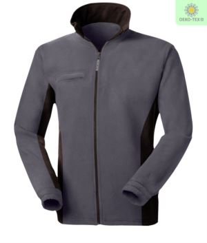 Two-tone fleece, long zip with foldaway badge holder, two pockets. Colour: Grey/Black