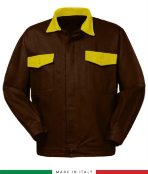 Two tone work jacket, Made in Italy. Two chest pockets. Possibility of customization. Color brown/yellow