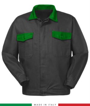 Two tone work jacket, Made in Italy. Two chest pockets. Possibility of customization. Color grey /bright green
