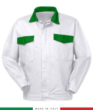 Two tone work jacket, Made in Italy. Two chest pockets. Possibility of customization. Color Brilliant White/Green