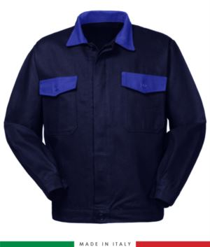 Two tone work jacket, Made in Italy. Two chest pockets. Possibility of customization. Color navy blue / royal blue
