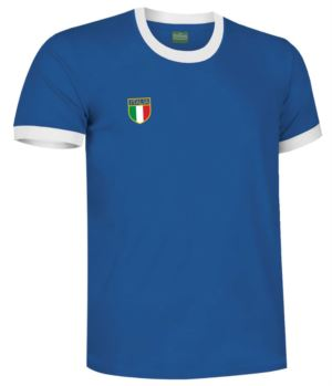 T-Shirt with collar and bottom sleeve in contrast, tricolor sleeve in the bottom sleeve