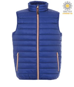padded vest in shiny nylon, waterproof, light blue colour, with polyester lining