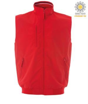 summer work vest multi pockets red color 100% cotton