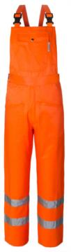 Salopette alta visibilità, doppia banda su fondo gamba tascone sulla pettorina, bretelle regolabili, cerificata EN 20471, colore arancione