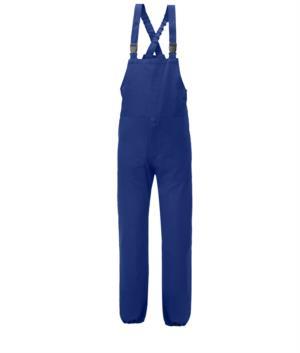 Salopette antimpigliamento, bretelle elasticizzate, apertura laterale, tasca pettorale chiusa con velcro, colore blu. Certificato UNI EN 510 e UNI EN 340: 04