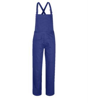 Salopette ignifuga, grande tasca sul petto, due tasche laterali, tasca posteriore, strap regolabili, colore azzurro royal. Certificato CE, NFPA 2112, EN 11611, EN 11612:2009, ASTM F1959-F1959M-12