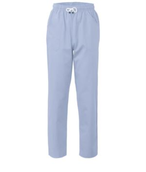 Trousers with contrasting two tone details on the pockets. Colour: Blue/Grey