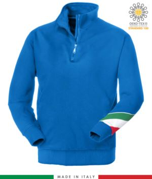work sweatshirt with short zip made in Italy wholesale Royal Blue color with italian flag