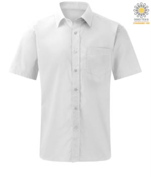 men short sleeve shirt for work uniform color White