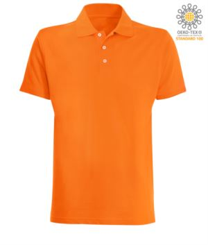 Short sleeved polo shirt in orange jersey