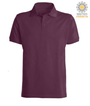 Short sleeve polo shirt with ribbed cotton sleeve bottoms. Color Burgundy