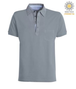 Short sleeve polo shirt with pocket, collar with oxford inserts in the collar, grey color