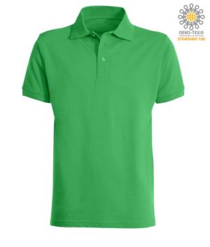 Short sleeved polo shirt with three buttons closure, 100% cotton, Jelly Green colour