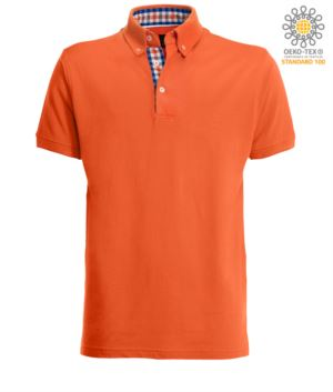 Short sleeve work polo shirt, three button closure, side vents, button-down collar handrail, 100% cotton fabric, orange color, orange color white and blue collar