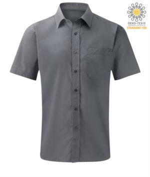 men short sleeved shirt polyester and cotton silver color