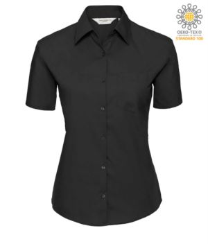 women short sleeved shirt Black 100% cotton