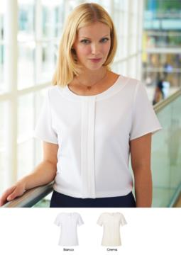 Woman's short-sleeved blouse in polyether and elastane in white and cream. Use for elegant uniform from receptionists, hoteliers, hostesses. Request a quote.