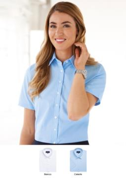 Women's easy iron shirt in polyester and cotton. Elegant clothing for workwear. Wholesale. Request a free quote.