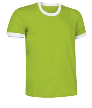 Short sleeve cotton ring spun T-Shirt with contrasting crew neck and sleeve bottoms, colour green and white
