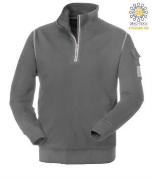 grey short-zip work sweatshirt with wolf neck
