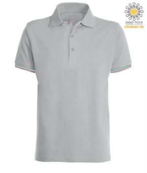 Short-sleeved polo shirt in 100% cotton jersey with Italian tricolor profile on the sleeve edge, two matching buttons and one tricolor
