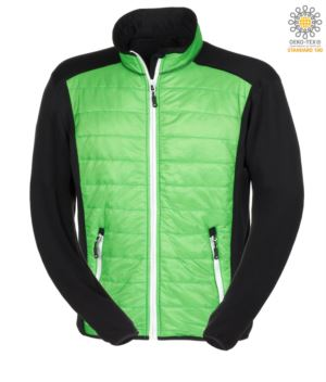Slim fit jacket for men, with mixed material: fleece and primaloft padding, high rigid collar. Long front zip in contrast colour white.Colour: green and black