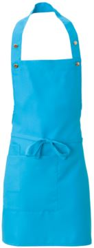 Apron with side pocket, in polyester, colour turquoise