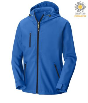 Two layer softshell jacket with hood, waterproof. Color: Blue Royal