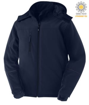 Padded jacket in waterproof and breathable softshell, waterproof. Detachable hood, covered zippers and reflective profiles on the arms and hood. Colour: Navy Blue