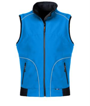 Royal blue softshell work vest with reflective inserts. Polyester fabric.