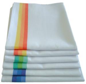 Strofinaccio in cotone, misura cm 50x70, colori bianco-arancio, bianco-blu, bianco-verde
