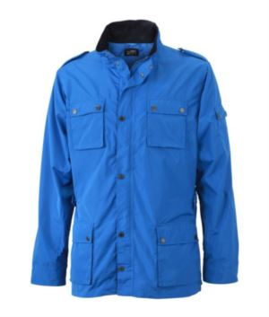 Men summer jacket with water-repellent fabric, with zip closure and buttons. Colour Cobalt