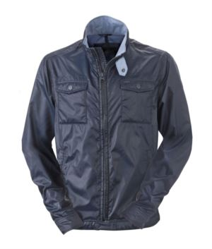 Men summer jacket in water-repellent nylon; denim collar, cuffs and waistband. Color Navy Blue