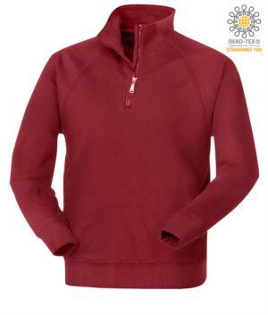 men short zip sweatshirt in burgundy colour